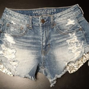 American Eagle Jean Shorts Gold Sequin Pockets